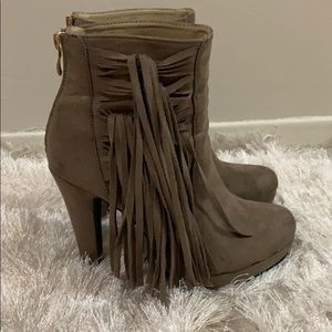 High heel platform fringe booties